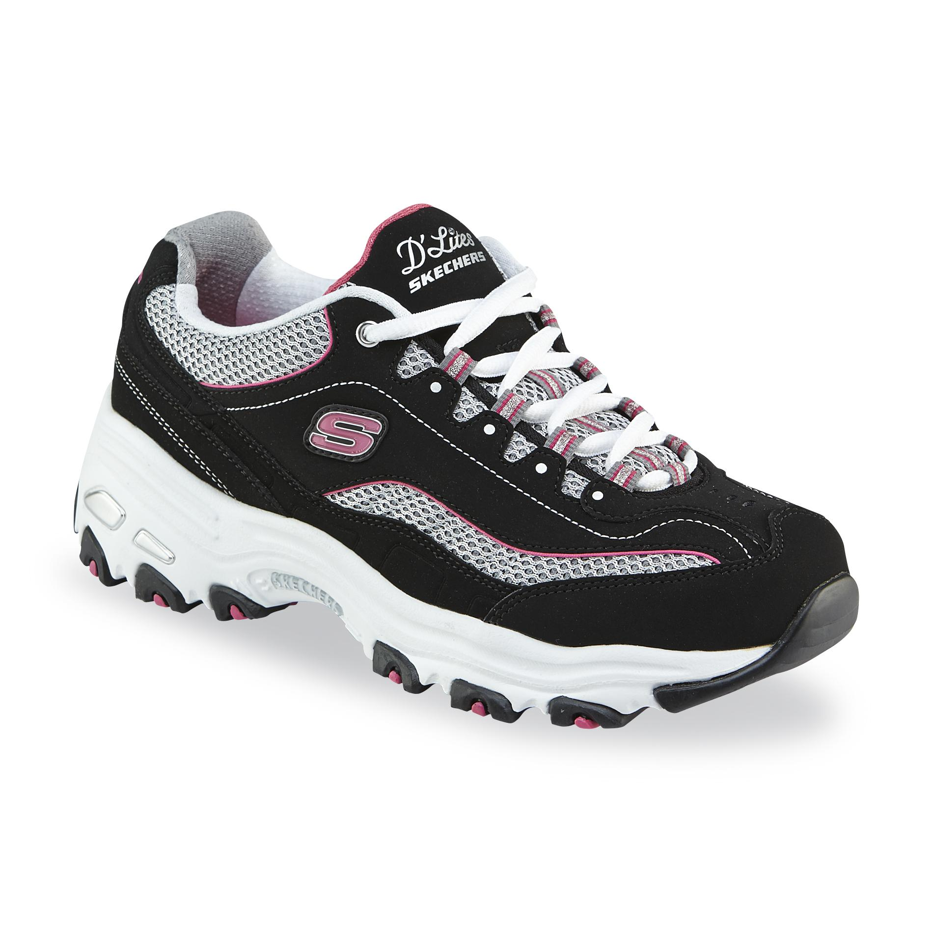 Skechers sneakers skechers womenu0027s du0027lites life saver wide width athletic shoe -  black/pink/white CRMQXTU