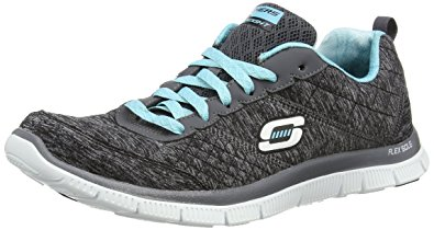 Skechers sneakers skechers womens flex appeal - pretty city black/light blue cross trainer - 5 WBUSRWL