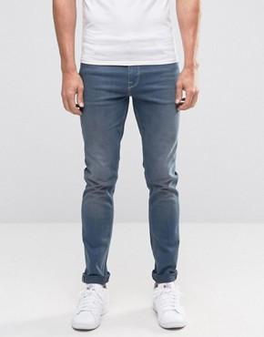 skinny jeans for men asos skinny jeans in smokey blue wash OPFOLVM