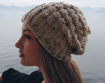 slouchy knit beanie // heathered textured off white beanie // fall knit  beanie / DLSMRBS