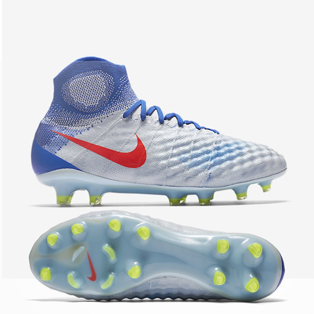 soccer cleats nike nike womenu0027s magista obra ii fg soccer cleats (pure platinum/bright  crimson/racer blue) IXDQCXI