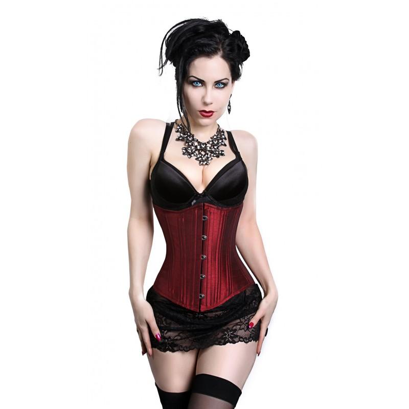solid burgundy underbust corset PNVVPWR