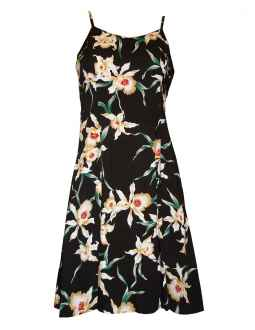 star orchids spaghetti strap hawaiian dress in black JRHWOGB