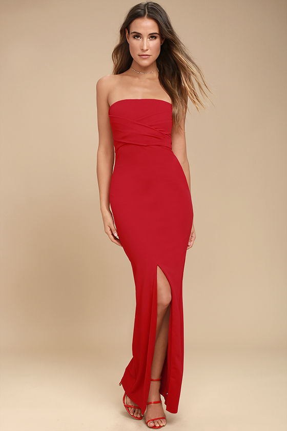 strapless dress own the night red strapless maxi dress 1 JDVJSTV