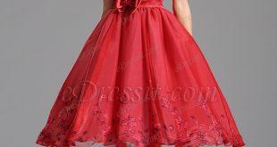 strapless tea length red cocktail dress party dress (x04135102) QCXRVUF
