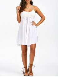 summer dresses crochet trim halter neck summer a line dress YOTCYGZ