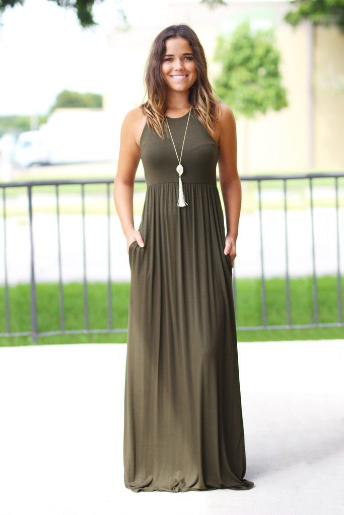 summer maxi dresses olive maxi dress with pockets DIPXUUQ