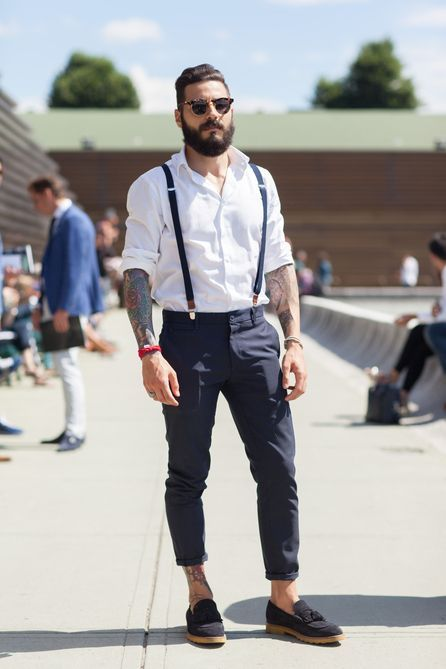 suspenders for men menu0027s white long sleeve shirt, navy chinos, black suede tassel loafers,  dark brown sunglasses TCGFIEE