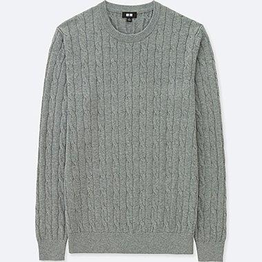 sweaters for men men cotton cashmere cable crew neck sweater, gray, medium CMEOXJG