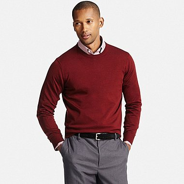 sweaters for men men extra fine merino crewneck sweater, wine, medium WSJCRJG