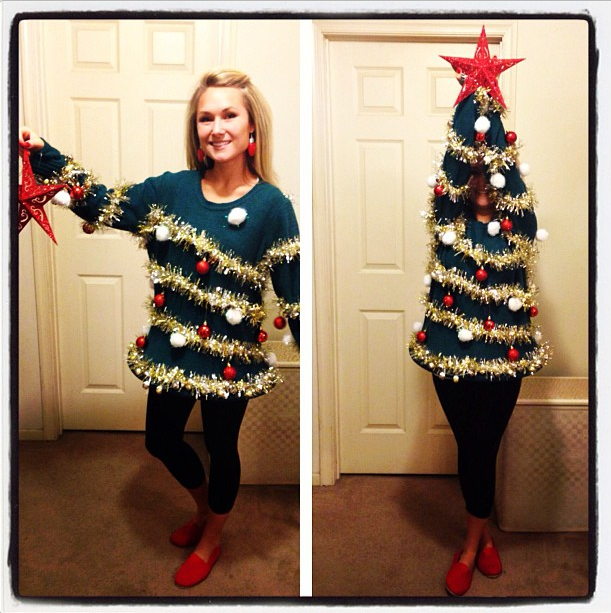 tacky christmas sweaters christmas tree with ornaments sweater WBULGJE