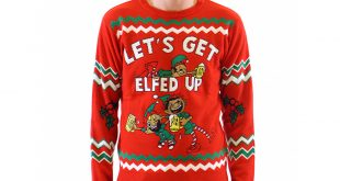 tacky christmas sweaters letu0027s get elfed up drunken elves ugly christmas sweater DGSNUQR