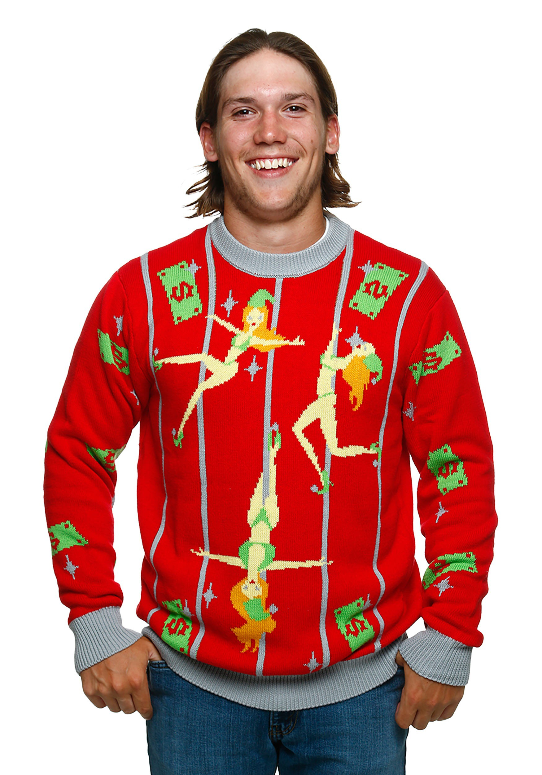 tacky christmas sweaters pole dancing elves ugly christmas sweater NBEJIZT