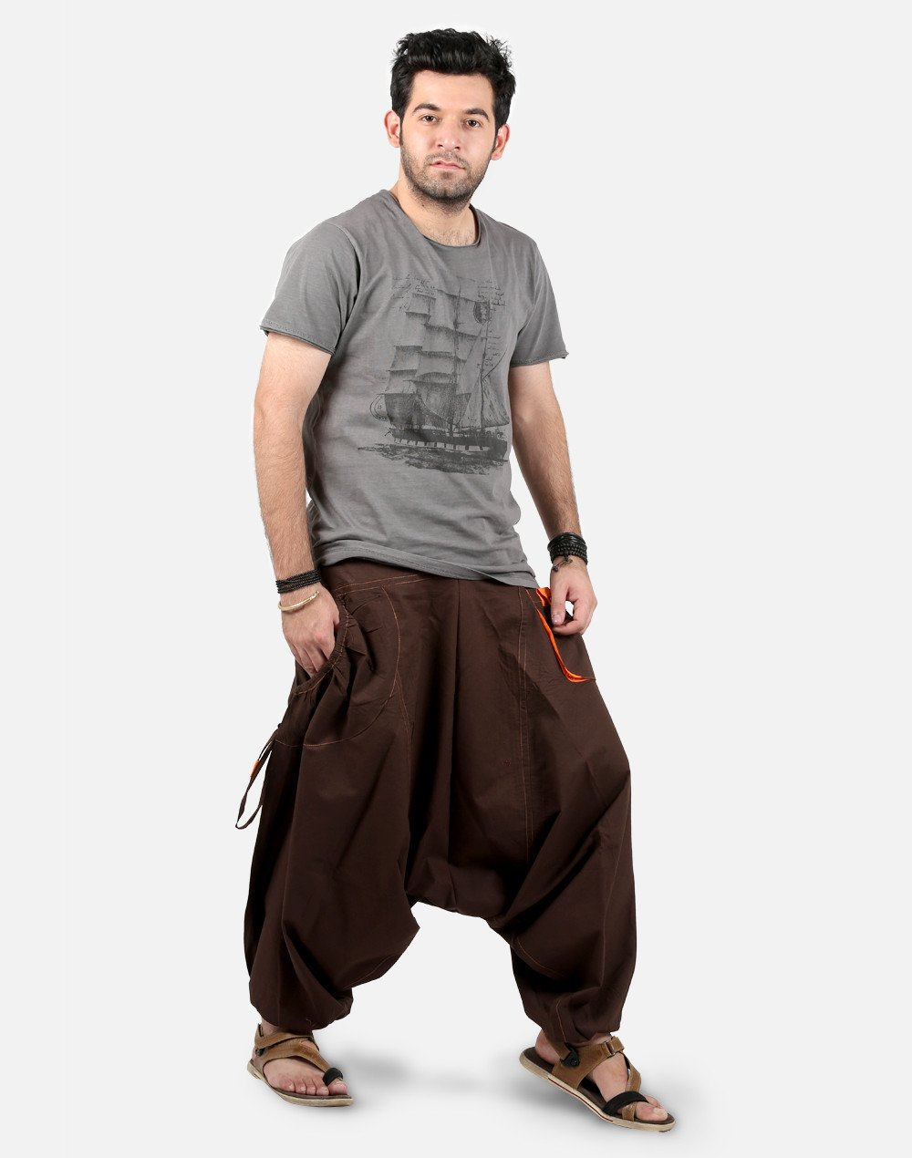 ths mens harem pants - drop pockets style - brown HQVSRMN