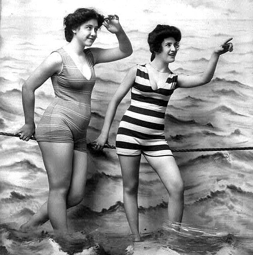 two women in vintage bathing suits. NYVTWEB