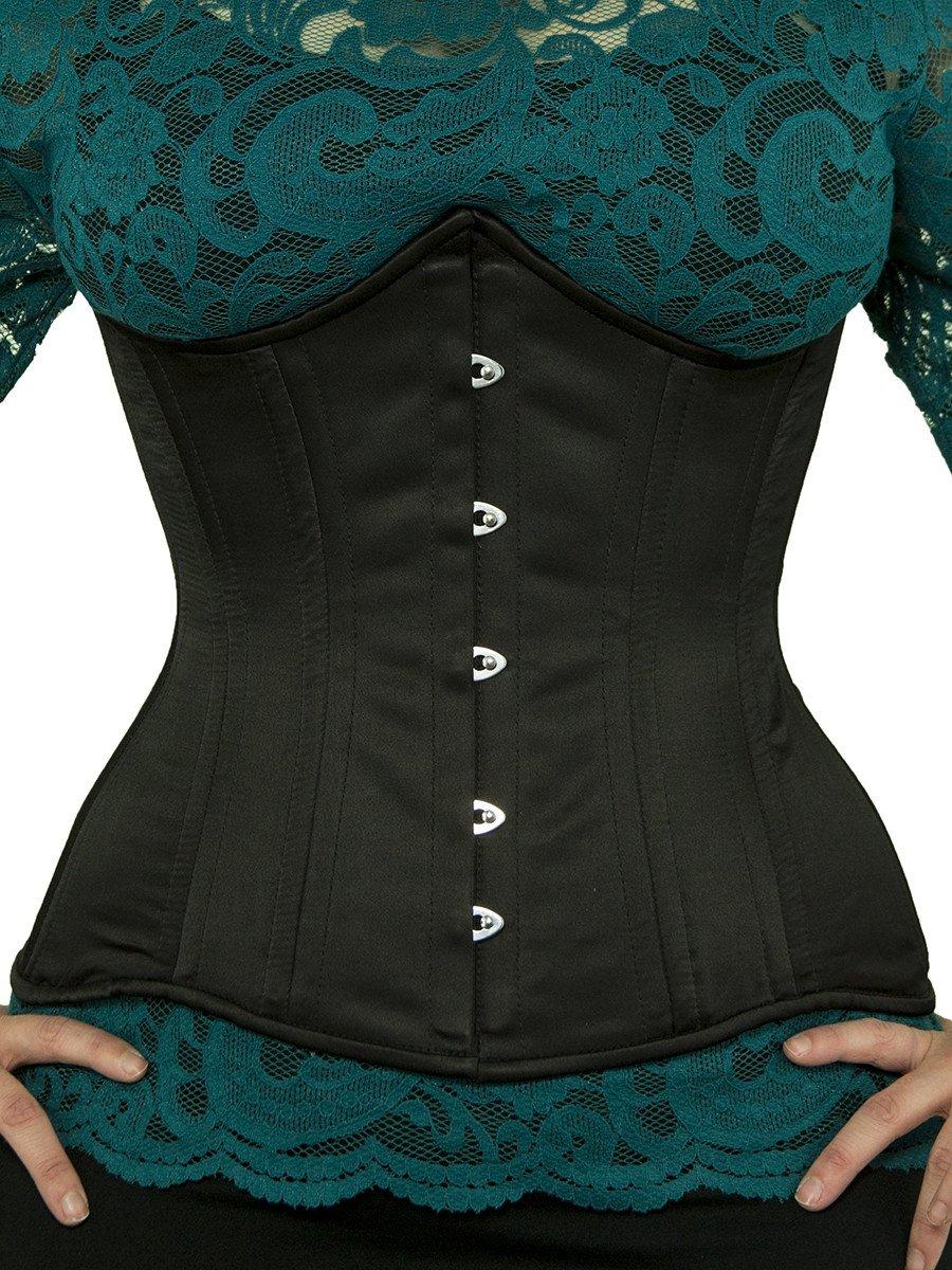 underbust corset waist trainer cs 426 black satin corset front HGXQCFP