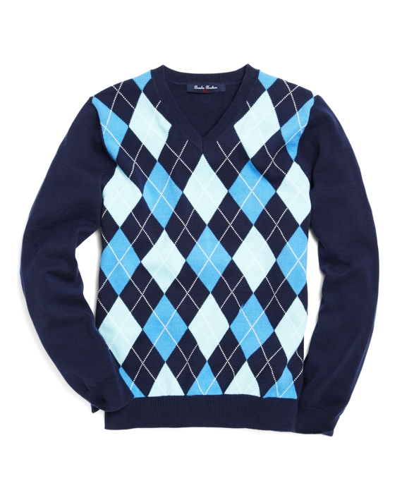 v-neck argyle sweater navy AZUHORG
