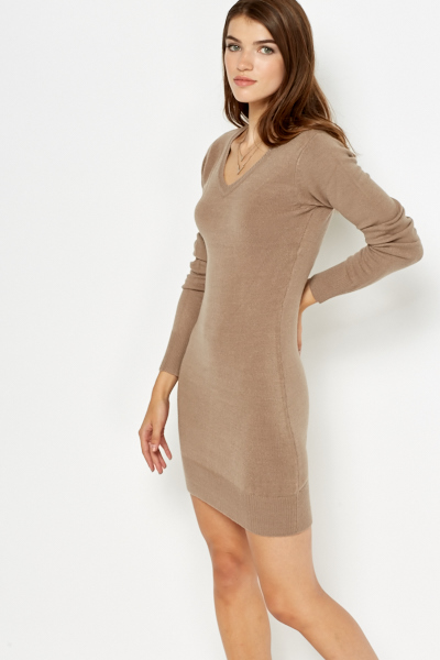 v-neck knitted dress TDUUJZM