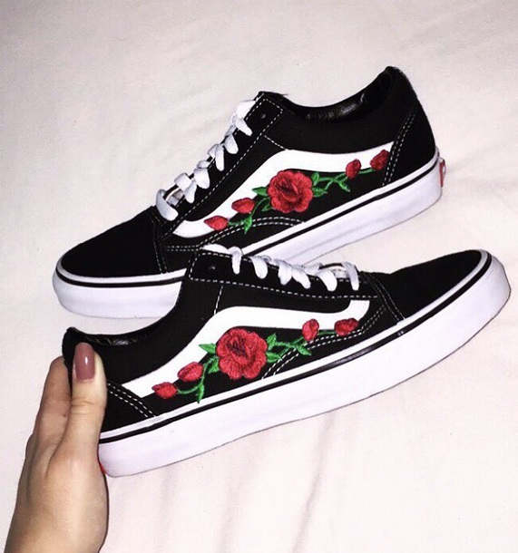 vans shoes shoes vans floral vans roses vans rose vans roses shoes shoes with roses  vans OQAHYRP