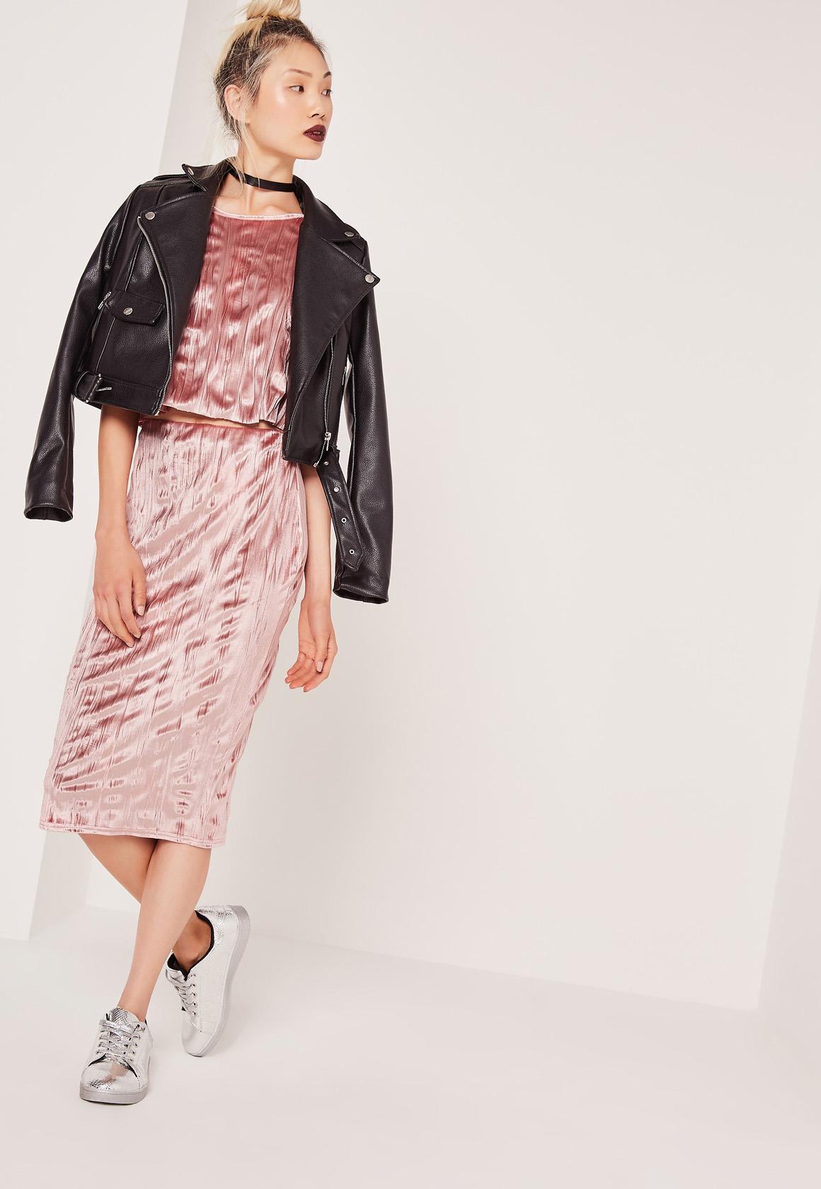 velvet pleated midi skirt pink IWSOQPB