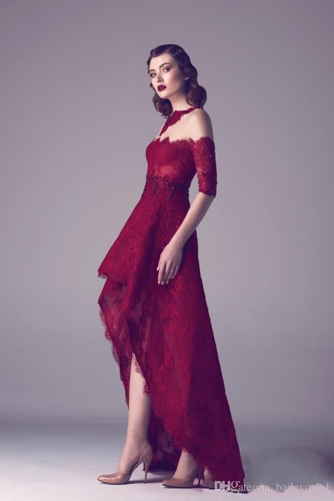 vintage 2016 sheer maroon high low prom dresses off shoulder a line formal  lace DDUXSFC