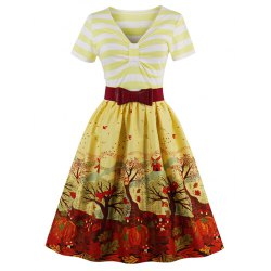 vintage style dresses wholesale v neck fit and flare print vintage dress - yellow s print vintage LOXFBHF