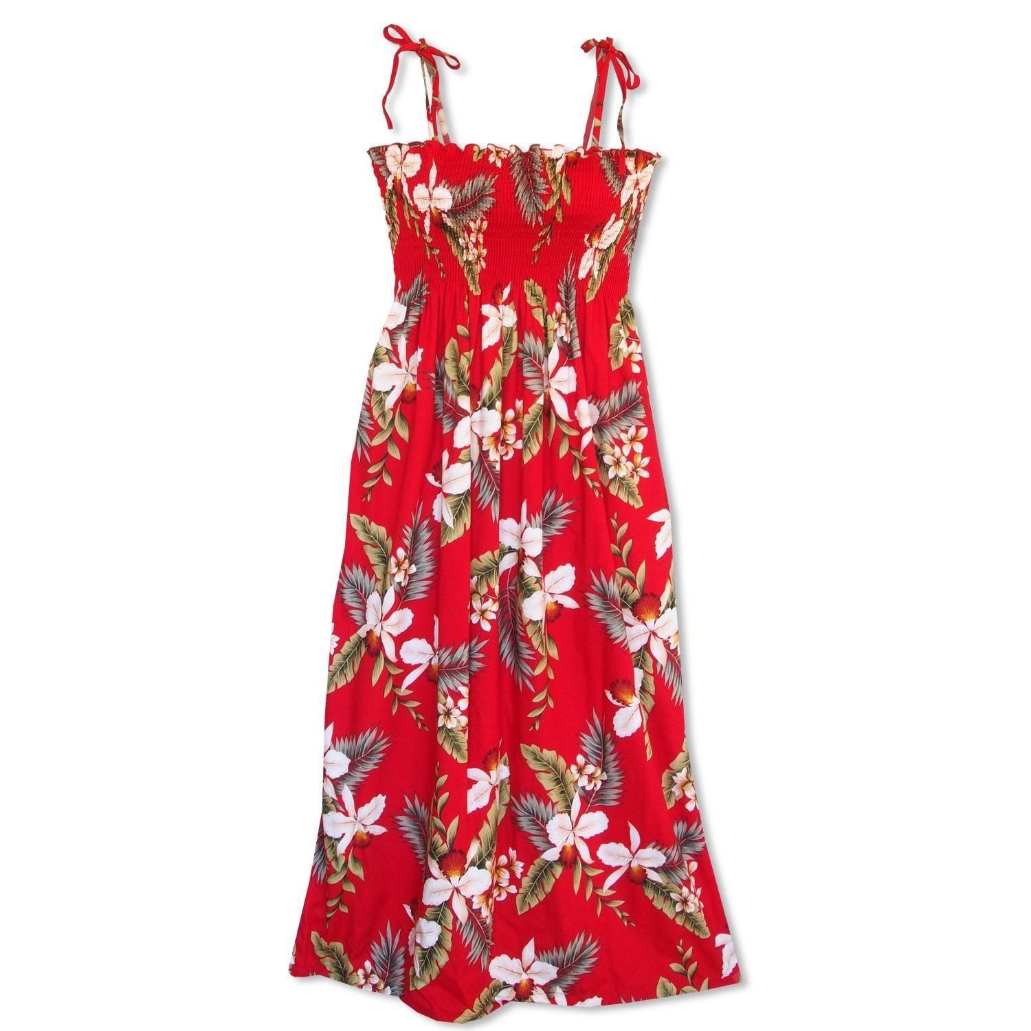 volcanic red maxi hawaiian dress - lavahut LOEWDBA