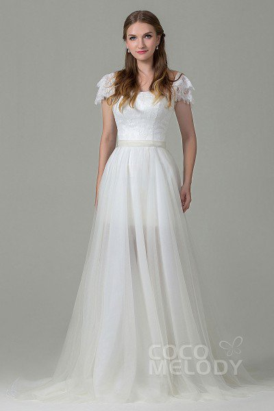 wedding dresses with sleeves fashion sheath-column square natural court train tulle and lace ivory cap  sleeve zipper wedding YXZLXMP