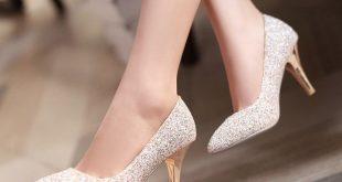 wedding heels pointed toe women pumps spike high heels sequined wedding shoes woman BCZUTGC