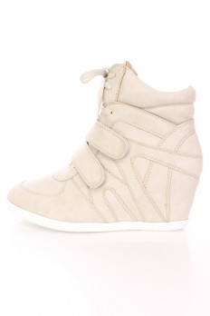 wedge sneaker light grey lace up strappy sneaker wedges faux leather LMOANRH