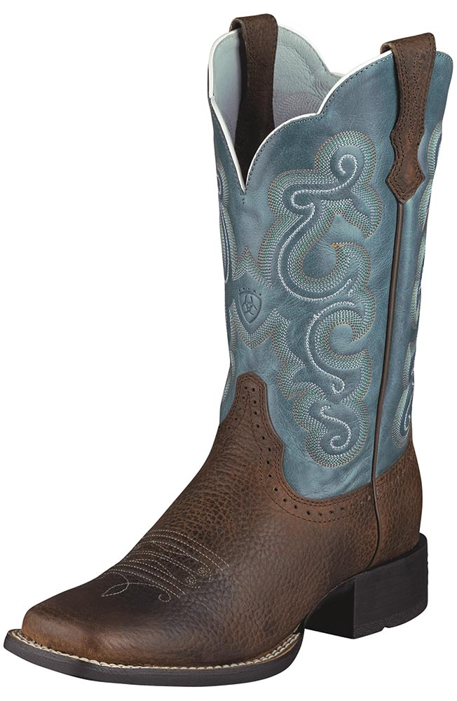 western boots for women ariat® womenu0027s quickdraw performance cowboy boots - brown / sapphire blue AKQABAK