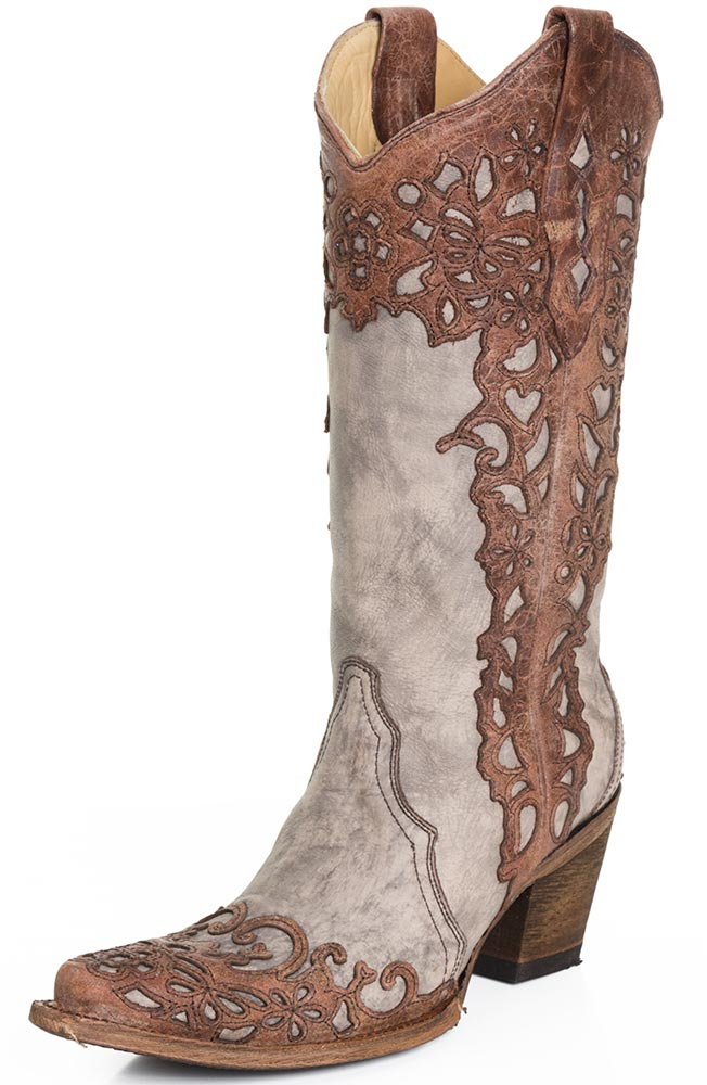 western boots for women corral womens laser overlay cowboy boots - cognac/sand CIMWFBN