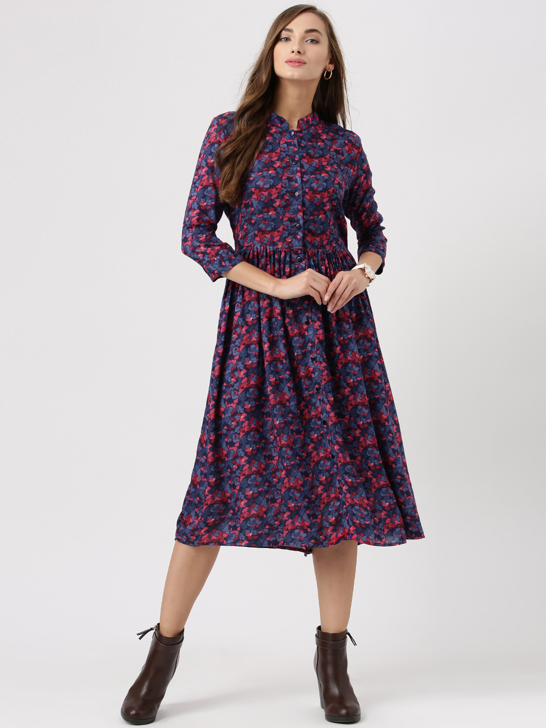 western wear for women marie claire women blue floral print fit u0026 flare dress FPFTJFS