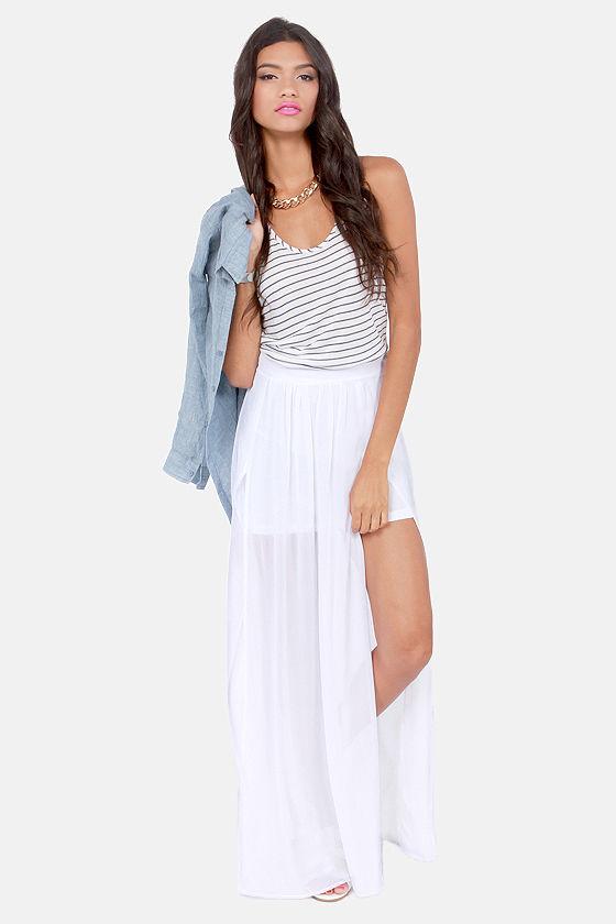 white maxi skirt cute white skirt - maxi skirt - slit skirt - high-waisted skirt - $39.00 ZGTXRZS