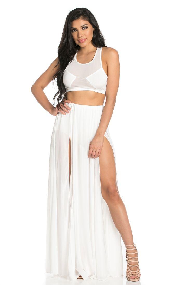 white maxi skirt double front slit chiffon maxi skirt in white PTAAHMX
