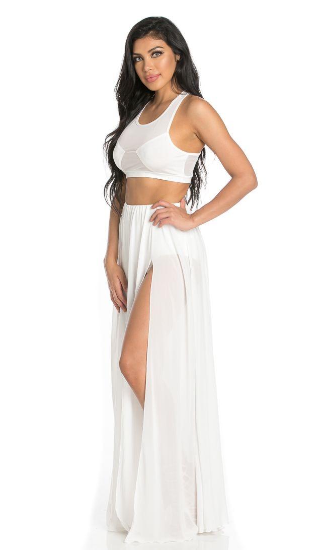 white maxi skirt double front slit chiffon maxi skirt in white WRVWHHQ