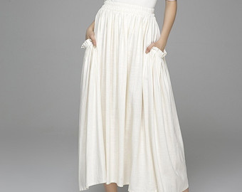 white maxi skirt, high waisted skirt, maxi skirt, linen skirt, white skirt ZQZOFXY