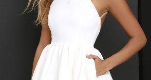 white party dress chic freely ivory backless skater dress HGERMKS