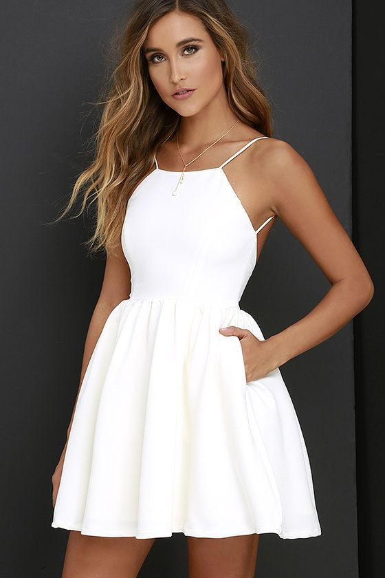 white party dress chic freely ivory backless skater dress HGERMKS
