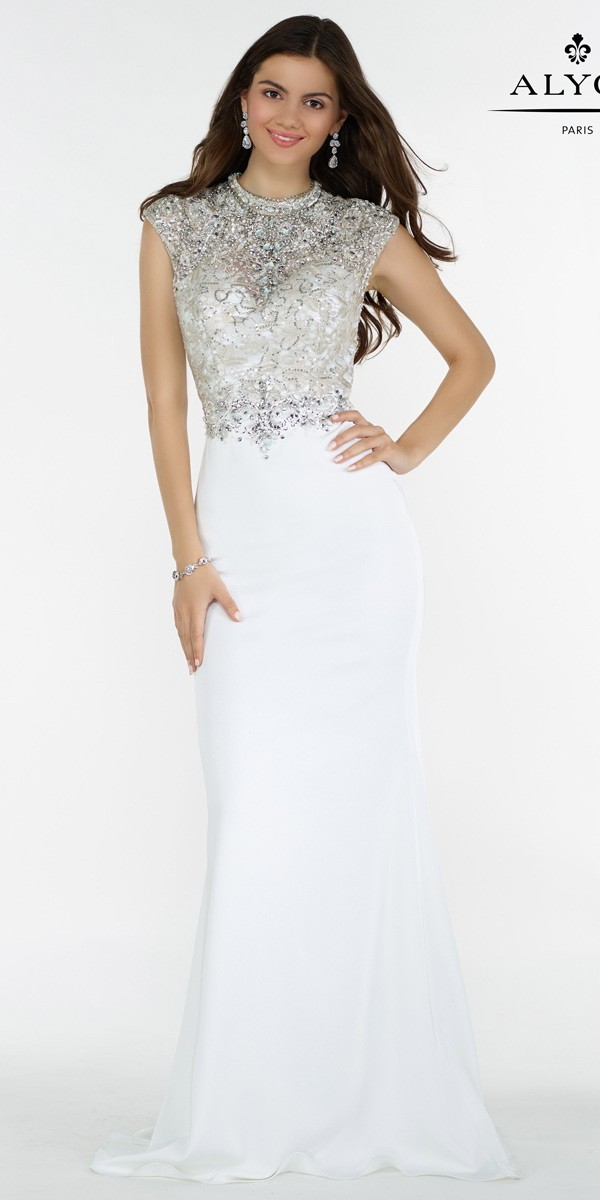 white prom dresses high neck beaded dress with sexy open back - alyce paris - 6718 MFATQYJ