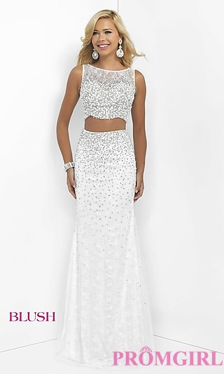 white prom dresses long white two-piece blush prom dress - promgirl ITPBXFM