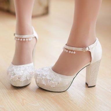white wedding shoes womenu0027s platform rhinestrone lace flower buckle wedding gown dress high  heels GYDMUFA