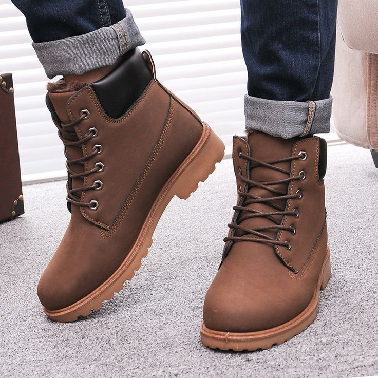 winter boots for men specials prices men winter boots 2015 pu leather men boots hot sell england  plus DIAWVOO