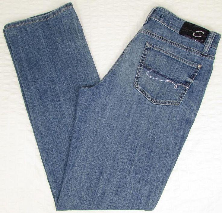 women cambio jeans straight leg mid rise faded light wash sz 30 x 33 euc ZSDPVHL