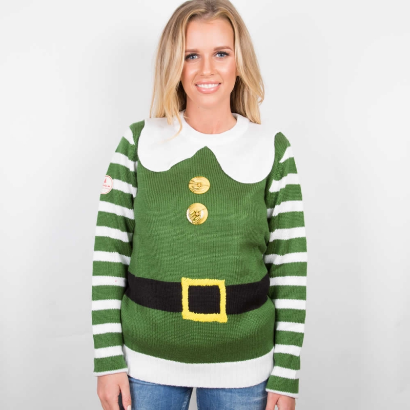 womens christmas jumpers funny elf christmas costume jumper; womenu0027s elf christmas costume jumper ... ZCUMYJU