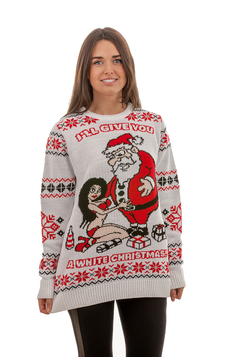 womens christmas jumpers ugly u0027white christmasu0027 sweater for women - front view ... YFPDAAW