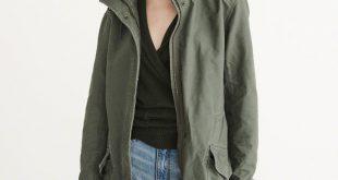 womens coat anf twill boyfriend parka WJEFMLS