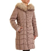 womens coat chevron quilted down coat with faux fur trimmed hood MPVXDZL