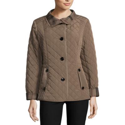 womens coat liz claiborne belted quilted jacket RWNJNFF