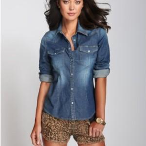 womens denim shirt guess womenu0027s lexi denim shirt ... MNXIRYG